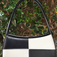 BLACK and WHITE Itialian Style Faux Leather Retro Hand Bag