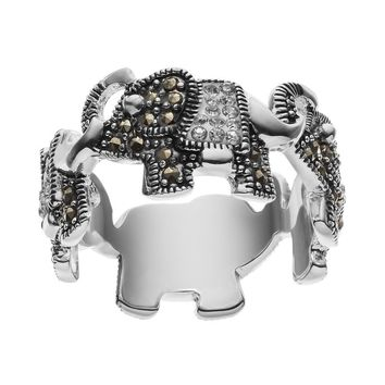 Silver Luxuries Marcasite & Crystal Silver-Plated Elephant Ring (Grey)
