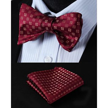 Pocket Square Classic Party Wedding BF602RS Burgundy Gold Floral Bowtie Men Silk Self Bow Tie handkerchief set