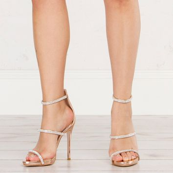 3 Strap Heeled Sandals in Rose Gold