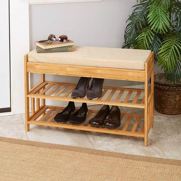 Bamboo Entry Bench with Storage Padded Seat 2 Shelves & Drawers Mudroom Organize