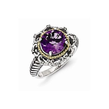 Sterling Silver with 14k Antiqued Amethyst and Diamond Ring