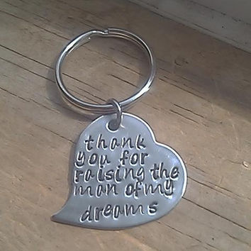 Thank You for Making Him the Man of My Dreams  -  Personalized Hand Stamped Heart Key Chain- Stainess Steel