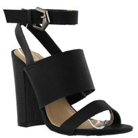 """Sage"" Triple Strap High Heel Sandals - Black"