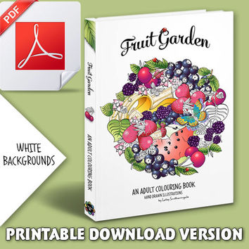 Colouring Book for Adults - Fruit Garden - Printable PDF Version - White Backgrounds