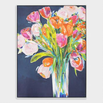 Multicolor Floral Bouquet Wall Art in Black Frame