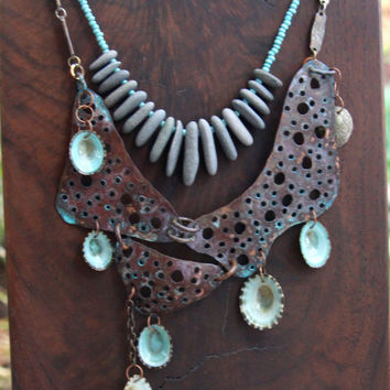 Tide Pool Copper Bib Necklace Holey Aged Copper with Blue Limpet Shell Dangles on Vintage Chain Metalwork Ocean Beach Jewelry