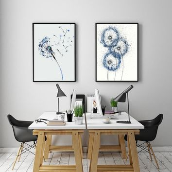 Nordic Decoration Blue Dandelion Wall Art Canvas Flowers Poster and Print Animal Canvas Painting Picture for Living Room Decor