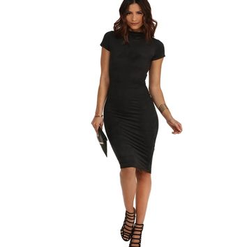 Black Covered In Suede Dress
