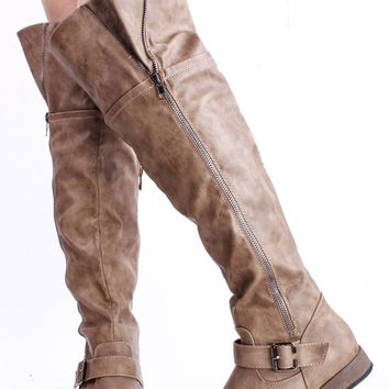 TAUPE FAUX CRINKLE LEATHER STRAPPY BUCKLE ZIPPER ACCENT OVER THE KNEE RIDING BOOTS
