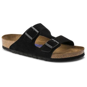 Birkenstock Arizona Soft Footbed Suede Leather Black 0951321/0951323 Sandals - Best Deal Online