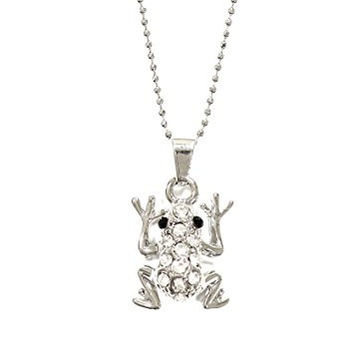 Crystal Tree Frog Necklace Silver Tone Rainforest Pendant NO62 Fashion Jewelry