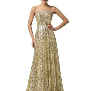 Grace Karin® Women's Brilliant Beadings Golden Sequins Gown Prom Dresses CL6103