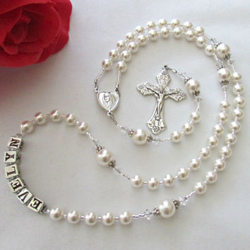 Personalized Catholic White Swarovski Pearl and Crystal Rosary