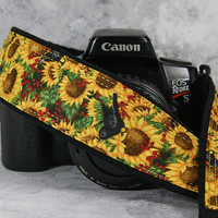 Camera Strap, dSLR, Sunflower, Blackbird, Yellow, Canon Camera Strap, Nikon Camera Strap, SLR, Pocket, Camera Neck Strap, 151 ww