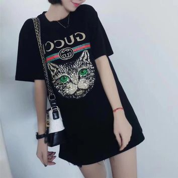 """Gucci"" Women Casual Fashion Sequin Cat Head Embroidery Letter Print Short Sleeve T-shirt  Top Tee"