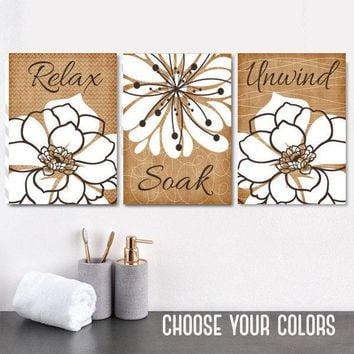 Bathroom WALL Art, CANVAS or Print, Relax Soak Unwind Quotes, Flower Bathroom Decor, Matching Home Decor, Rustic Farmhouse Bathroom Set of 3