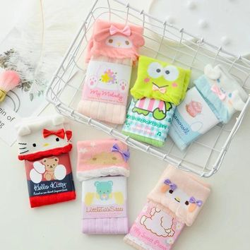 New Little Twin Stars  My Melody Candy Colors Crimping Cotton Short Socks Slippers For Student Girls Cartoon Socks