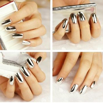 Sannysis 1PC Elegent Hot Sell Smooth Nail Art Sticker Patch Foils Armour Wraps DIY Decoration (Silver)