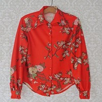 Vintage 1970s Lovebird + Button-Down Blouse