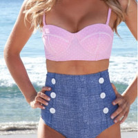 Swimwear ~ Pretty in Pink Retro Style High Waisted Swimsuit. So Cute! Pink & Blue.