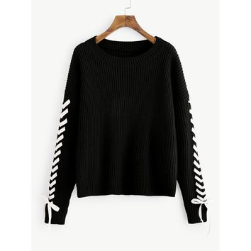 Drop Shoulder Lace Up Sleeve Jumper Black