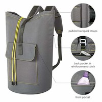 WOWLIVE Extra Large Laundry Bag Laundry Backpack Hanging Laundry Hamper with Adjustable Shoulder Straps Camping Bag Waterproof Durable for Collage Apartment Dorm Sports (Expandable to 40'',Grey)