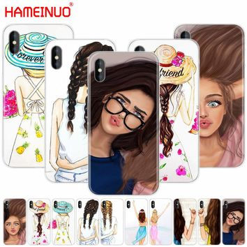 HAMEINUO Girls Brunette Blonde Best Friends BFF Matching cell phone Cover case for iphone X 8 7 6 4 4s 5 5s SE 5c 6s plus