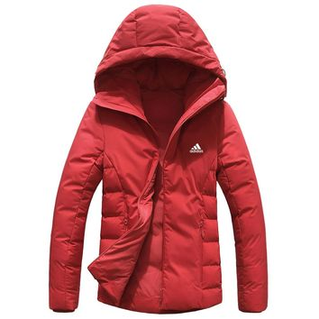 Adidas Women Men Autumn And Winter New Fashion Keep Warm High Quality Hooded Down Jacket Red