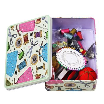 D&D Metal Sewing Kits Box Sewing Tools Organizer Storage Box Home Supplies with Sewing Accessories