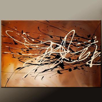 Abstract Canvas Art Contemporary Painting by Destiny Womack - dWo -Autumn Breeze