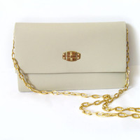Beige Faux Leather Clutch