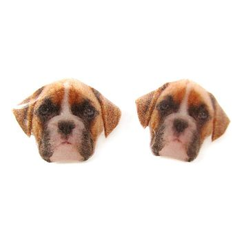 Realistic Boxer Dog Face Shaped Animal Resin Stud Earrings | Made To Order | Handmade