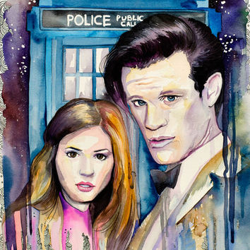Original Watercolour Painting- Doctor Who, Eleven, tardis, Celebrity Portraits, Carmine red, Cerulean,