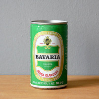 Bavaria vintage aluminium 80s emerald green gold white black red beer can for collectors