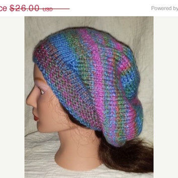 EtsyCIJ15 Purple and Blue Hipster Hat - Slouchy Beanie - Purple Beret - Hand Knit Hat - Women's Hat - Women's Accessories