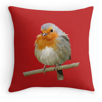 Red Robin Throw Pillow, Bird Scatter Cushion, 16x16, Fine Art Cushion Cover, Birder Christmas Gift
