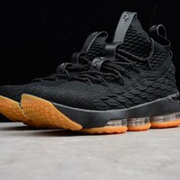 "Nike LeBron 15 ""Black&Orange"" Men Basketball Shoes 897648-300"