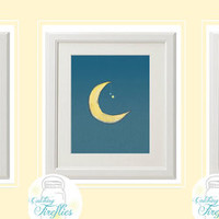 I LOVE you to the MOON and STARS 3 - 8x 10 Instant Download Prints for a Nursery Childs room. Gender Neutral, Great for kids sharing a room.