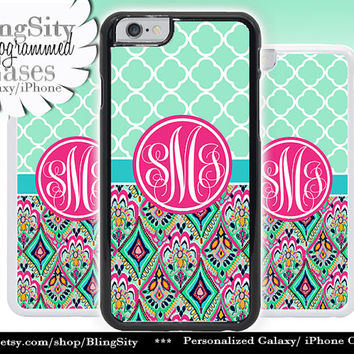 Monogram Mint Aztec iPhone 5C 6 Case 6 Plus iPhone 5s 4 case Ipod 4 5 Touch Cover Custom Quatrefoil Jewels Aqua Pink Personalized