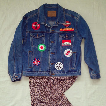 DIY Custom Patches Vintage Oversized Jean Jacket : UNIQLO Vintage Jacket