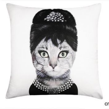 cmCasa[3277]18x18 Inch Flannelet Decorative Throw Pillow Cover Cushion Case, Cat Cosplay Audrey