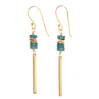 Turquoise Heishi Dangle Earrings