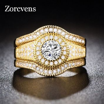 ZORCVENS Gold Color Rings For Women Simple Design 3pcs/set Fashion Jewelry Bridal Sets Wedding Engagement Ring for Woman