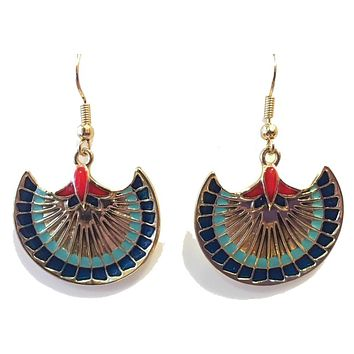 Papyrus Flower Egyptian Dangle Costume Color Earrings