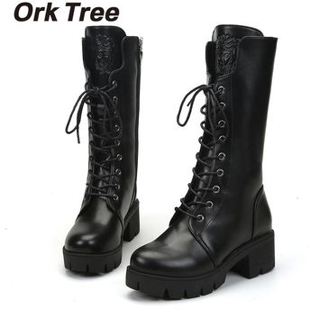 Ork Tree 2017 New Women Winter Shoes Black Thigh High Boots for Women Boots Bottine Femme 35