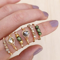 Stacking Ring, Glass Bead Ring, Gemstone Rings, Wire Wrap Rings, Dainty Ring, Skinny Ring