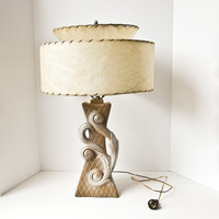 Mid Century Modern Table Lamp with Double Fiberglass Shade