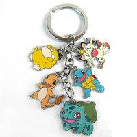 Pokemon Bulbasaur Charmander Squirtle Psyduck Meowth Keychain Pendants