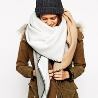 ASOS Oversized Square Scarf In Colour Block at asos.com